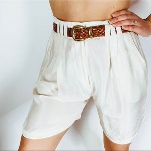 Vintage Silk White High waisted pleat front shorts